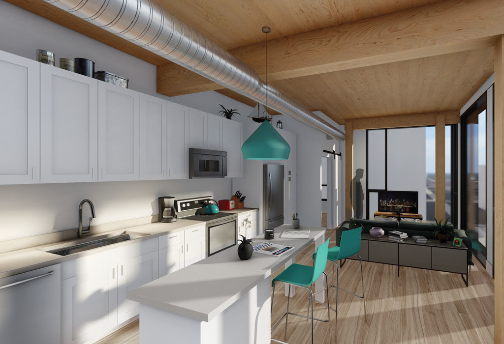 A beautiful kitchen rendering from a Timber Lofts Apartment
